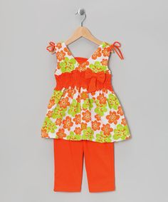 {Salmon Floral Bow Tunic & Capri Leggings - Toddler & Girls by G Relations}
