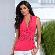 Women's Summer V-Neck Sleeveless Vest Top Casual Tank Tops T-Shirt - XL