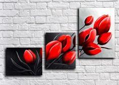 Модульная картина Алые тюльпаны (ручная обработка) 85*55 см