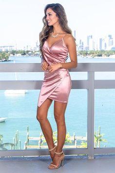 Tight Dresses, Sexy Dresses, Cute Dresses, Beautiful Dresses, Fashion Dresses, Pink Short Dresses, Pink Satin Dress, Satin Dresses, Satin Short Dress