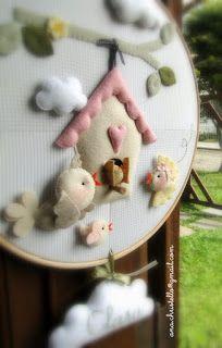 : Bastidor - porta de maternidade passarinhos e birdhouse