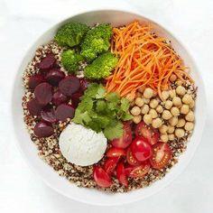 10 Buddha Bowl Recipes for a Balanced Lunch - bowl carrot chickpea tomato beet avocado - Raw Vegan Recipes, Easy Healthy Recipes, Whole Food Recipes, Budah Bowl, Salada Light, Poke Bowl, Quinoa Bowl, Avocado, Summer Recipes