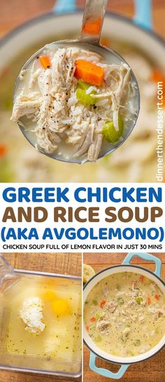 Greek Chicken and Rice Soup (Avgolemono) is a hearty shredded chicken based on a traditional Greek recipe. #dinner #soup #greekrecipes #chicken #lemon #dinnerthendessert Top Recipes, Greek Recipes, Cooking Recipes, Copycat Recipes, Slow Cooker Recipes, Asian Recipes, Recipies, Greek Lemon Chicken Soup, Chicken Rice Soup
