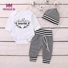 b214705539ebc0 US $4.06 25% OFF|MUQGEW 2019 Hot Koop Pasgeboren Baby Jongen Meisje Veer t  shirt Tops Gestreepte Broek Kleding Outfits Set Dropshipping Baby Kleding  in ...