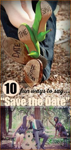 10 ways to Save the Date. Let everyone anticipate your special day with these stunning and creative pictures, cards and messages. Darling wedding picture ideas.