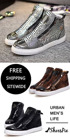 5b75d033b16 Sequin Serpentine Zipper High Upper Sneakers  All Up To 70% Off  Free