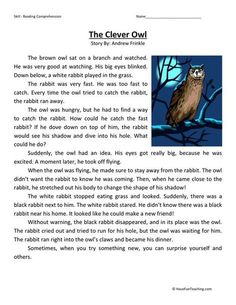 This Reading Comprehension Worksheet - The Clever Owl is for teaching reading comprehension. Use this reading comprehension story to teach reading comprehension. Reading Comprehension Activities, Reading Worksheets, Reading Fluency, Reading Passages, Comprehension Strategies, Reading Intervention, English Stories For Kids, English Story, Learn English