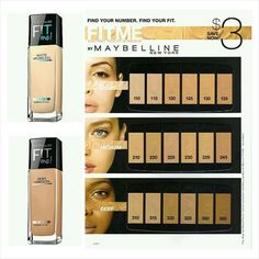 base maybelline fit me matte tonos