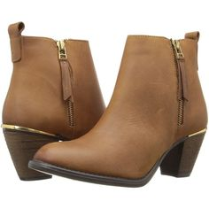 Steve Madden Whendy (Cognac Nubuck) Women's Dress Zip Boots ($70) ❤ liked on Polyvore featuring shoes, boots, ankle booties, ankle boots, brown, cognac boots, side zipper boots, brown boots, bootie boots and short boots