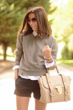 Shorts And Preppy Fall Outfit 2017 Street Style