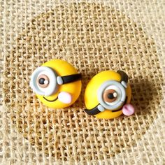Minions Earrings stud studs polymer clay cute sweets kawaii handmade