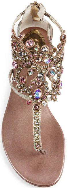 Rene Caovilla Swarovski Crystal-Embellished Snakeskin Sandals #sandalssummer