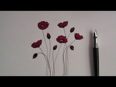 how to draw flowers - easy version for beginners - poppy flowers - YouTube