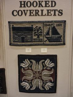 Rug  hooked in coverlet pattern
