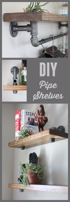 DIY Shelves and Do It Yourself Shelving Ideas - Industrial Pipe and Wood Bookshelves - Easy Step by Step Shelf Projects for Bedroom, Bathroom, Closet, Wall, Kitchen and Apartment. Floating Units…More Step Shelves, Diy Pipe Shelves, Pallet Shelves, Floating Shelves, Pallet Walls, Easy Shelves, Black Pipe Shelving, Black Shelves, Shelf With Pipe