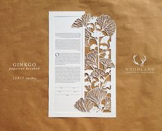 Ginkgo papercut ketubah by WoodlandPapercuts on Etsy Graphisches Design, Paper Design, Kirigami, Paper Art, Paper Crafts, Up Book, Origami Paper, Anniversary Gifts, Anniversary Flowers