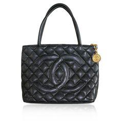 Chanel Caviar Black GHW Medallion Tote Bag