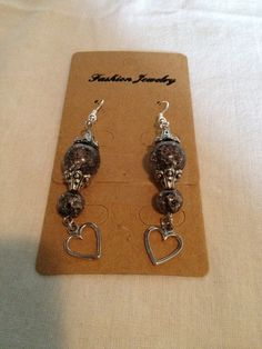 Beautiful Glass Beaded Earrings with Heart by UniqueHanMadeJewelry, $9.95