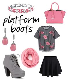 """Platform boots"" by rachelhuang68 ❤ liked on Polyvore featuring WithChic, MANGO, Fendi and 1928"
