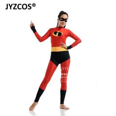Jyzcos The Incredibles Costume Halloween Costume Party Women Cosplay Spandex Lycra Zentai Bodysuit With Eyes Mask