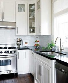 tile, cupboards and stainless steel
