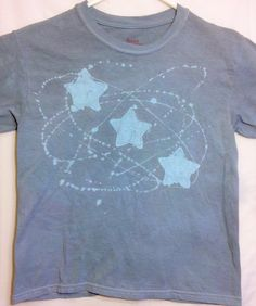 A personal favorite from my Etsy shop https://www.etsy.com/listing/269382078/blue-stars-on-grey-tee-kids-batik-cute-t