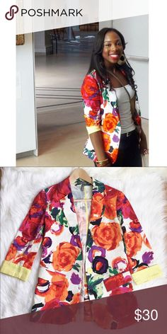 Like A Rose The perfect floral blazer.  Mixed colors with yellow cuffs. When buttoned it really accentuates the waistline. Jackets & Coats Blazers