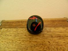 Fused glass black abstract ring