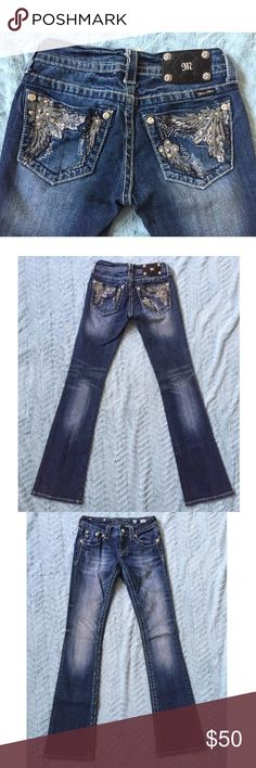 Miss Me SIZE 25 distressed bootcut jeans Miss Me distressed boot cut jeans, size 25. Please see measurements below. Style number JP5498B. 98% cotton, 2% elastane. Gently worn, light signs of normal wash and wear, a few loosening threads (see pictures). No fraying or wear of bottom hem. Miss Me Jeans Boot Cut