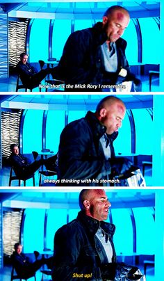 """That is the Mick Rory I remember, always thinking with his stomach"" - Leonard and Mick #LegendsOfTomorrow"