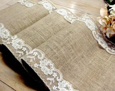 Natural Burlap Table Runner Wedding Table Runner by HotCocoaDesign