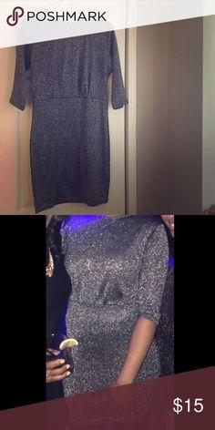 Like New Boohoo gray sparkle dress for sale Holiday dress for sale worn once.. Boohoo Dresses Midi