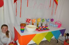 table skirt idea - fold tissue paper in half and tape like pennants around table