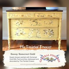 General Finishes Somerset Gold Milk Paint is a great color to give any furniture a bright and cheery  makeover.  The Painted Drawer hand painted this dresser and it's amazing! Check out their facebook page,https://www.facebook.com/ThePaintedDrawer and give them a like!