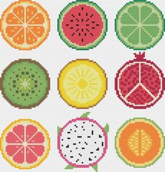 Tiny Cross Stitch, Cross Stitch Fruit, Modern Cross Stitch, Cross Stitch Flowers, Cross Stitch Designs, Blackwork Cross Stitch, Cross Stitching, Cross Stitch Patterns, Cross Stitch Finishing