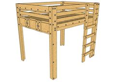 Queen Loft Bed Plans Description: These queen loft bed plans provide a SOLID foundation for an elevated queen sized bed frame suitable for adults. The design is simple and sturdy with the option to convert the design over to bunk beds later or even a Bed Loft Bed Plans, Murphy Bed Plans, Murphy Beds, Bunk Beds With Stairs, Kids Bunk Beds, Lofted Beds, Loft Spaces, Small Spaces, Living Spaces