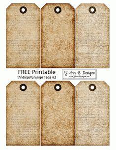J Ann B Designs: FREE printables Grunge tags 2*