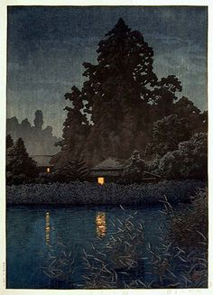 Things that Quicken the Heart: Rain - Japanese Woodcuts - Hasui Kawase - Rain at Ormiya 1930
