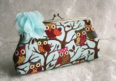 Cute owl flower clutch cottage chic chiffon purse multi-purpose bag by missvirgouk