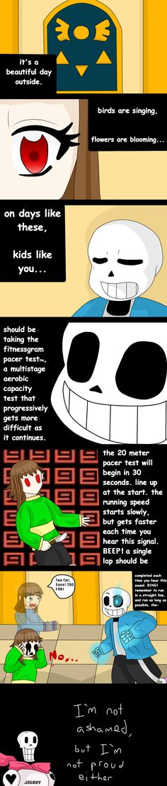 The pacer test is the real hell Undertale Memes, Undertale Fanart, Undertale Comic, The Pacer Test, Fnaf, Toby Fox, Indie Games, Bad Timing, The Villain