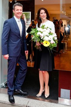 Crown Prince Frederik and Crown Princess Mary of Denmark during the ECCO store opening on May 20, 2015 in Munich, Germany