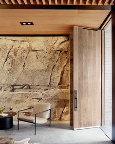 """Archinect on Instagram: """"2/3: Hill Country Wine Cave by Clayton Korte @clayton_korte Photo: Casey Dunn @caseycdunn More images and project details on the…"""" Limestone Caves, Limestone Wall, Wine Cava, Live Edge Countertop, Board Formed Concrete, Concrete Walls, Steel Barns, Cabinet D Architecture, Small Entry"""