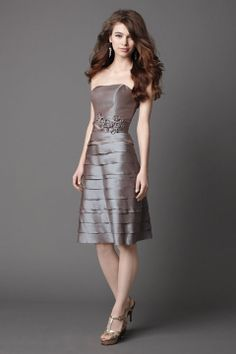 Strapless A-line with ruffle embellishment taffeta bridesmaid dress
