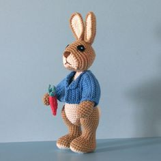Crochet Pattern - Robbie Rabbit, Crocheted Amigurumi Bunny Rabbit Doll, Similar to Peter Rabbit. $7.50, via Etsy.