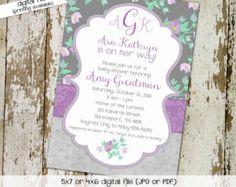 baby girl shower invitations, shabby chic, lavender gray purple floral digital, printable file (item 1376) baby shower invite