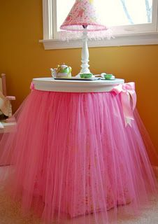 How cute for little princess all you do is hot glue a tutu to their night stand. Make sure the tutu is long enough that it goes to the floor. Then get a cute bow tie ribbon and hot glue it the tutu.