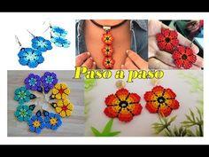 Beautiful flower earrings in mostacilla step by step, do not miss them😍😍 Beaded Earrings Patterns, Seed Bead Earrings, Diy Earrings, Crochet Earrings, Flower Earrings, Macrame Bracelet Tutorial, Earring Tutorial, Necklace Tutorial, Beard Jewelry