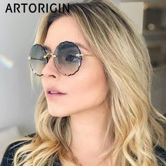 d9e94d61d US $5.97 54% OFF|2019 Luxury Round Sunglasses Women Brand Designer Rimless Sun  Glasses for Female Tint Fashion Rosie Eyewear -in Women's Sunglasses from  ...
