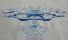 Vintage blue pressed glass cake stand with pedestal