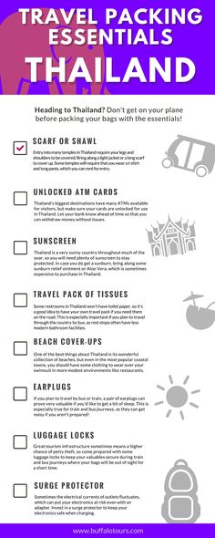 Heading to Thailand? Check out our list of essential items for your trip. Or, head to our blog to find out what one of our tour guide's recommend to be in your suitcase.